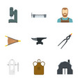 blacksmith man icon set flat style vector image vector image