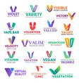 business icons letter v corporate identity vector image vector image