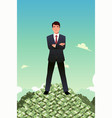 businessman standing on top of pile of money vector image vector image