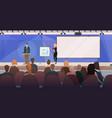 businesspeople couple tribune speech business vector image vector image