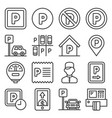 car parking icons set on white background line vector image vector image