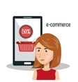 cartoon woman smartphone e-commerce isolated vector image vector image