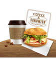 coffee sandwich fast food realistic advertisement vector image