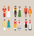 collection of national costumes vector image vector image
