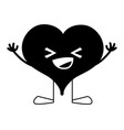 contour happy heart passion kawaii with arms and vector image vector image