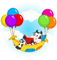 cow reading book and flies on balloons in hammock vector image vector image
