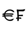 currency icons set black spray graffiti symbol of vector image