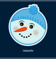cute birthday baby sticker with snowman vector image