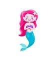 cute happy mermaids with pink hair and blue tail vector image