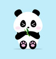 cute panda cartoon holding bamboo leaves vector image vector image