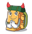 devil backpack mascot cartoon style vector image vector image
