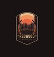 emblem patch logo redwood national park vector image vector image