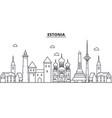 estonia talinn architecture line skyline vector image vector image
