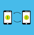 exchanging dollars with bitcoin vector image vector image