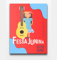 festa junina retro poster vector image vector image