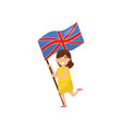 girl holding national flag of united kingdom vector image vector image