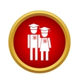 Graduates in graduation cap icon simple style vector image vector image