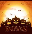 halloween poster glowing pumpkins vector image