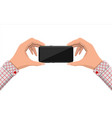 hands hold mobile phone vector image