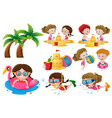 kids doing different activities on the beach vector image vector image