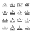 Linear crown icon set vector image vector image
