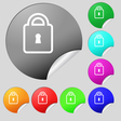 Lock icon sign Set of eight multi colored round vector image vector image