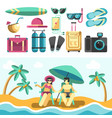 man and woman on beach and set of vacation things vector image vector image