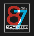 new york t-shirt design with number overlay vector image vector image