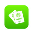 passports with map icon digital green vector image