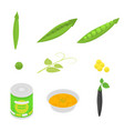 peas icons set isometric style vector image vector image