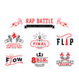 rap battle badge logo and typography design vector image vector image