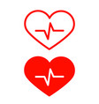 red heart icons set with cardiogram symbol vector image vector image
