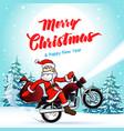 santa biker merry year winter card vector image