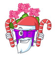 santa with candy geranium flowers in the cartoon vector image