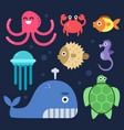 sea life fishes and others underwater mammals vector image
