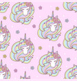 seamless pattern with a unicorn with a long mane vector image vector image
