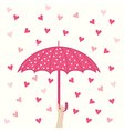 seamless pattern with umbrella and hearts rain vector image