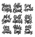 set different lettering phrases happy vector image vector image