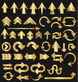 set of golden arrow shapes isolated on black vector image vector image