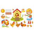 set with chicken and girl vector image vector image