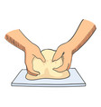 sketch of hands kneading dough vector image