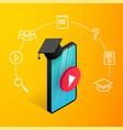 smartphone graduation cap icons vector image vector image