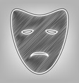 tragedy theatrical masks pencil sketch vector image