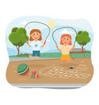 two young sisters playing on skipping ropes vector image vector image