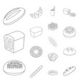 types of bread outline icons in set collection for vector image vector image