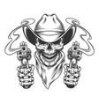 vintage cowboy skull in neck scarf vector image vector image