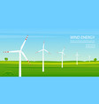 windmill farm on green field vector image