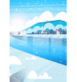 winter nature landscape houses on frozen river vector image vector image