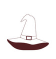 witch hat in brown dotted silhouette on white vector image