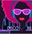 Disco 80s Girl with Headphones vector image